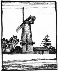 Wood's sketch of the same mill, based on his painting of 24 December 1932. Wood's sketches display a certain amount of artistic licence; the tower is taller and thinner than in reality.