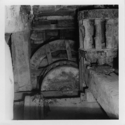 One of the few surviving examples of treble mill gearing at Arden Mill, North Yorkshire (Photo S. Buckland, Mills Archive Collection, JSPB-1127475)