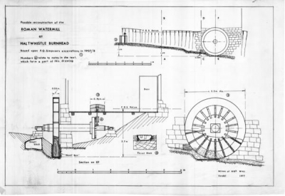 Reconstruction of the Roman watermill excavated at Haltwhistle Burn Head, Northumberland in 1907 (Drawing P. Wilson, Mills Archive Collection, PNWC-DRW-28-031)