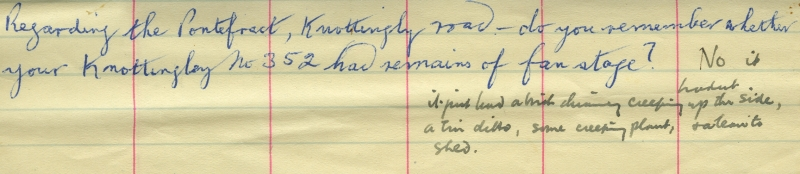 One of the scraps of paper found with the drawings—this one has a question in T J Mason's hand with a reply by Karl Wood.
