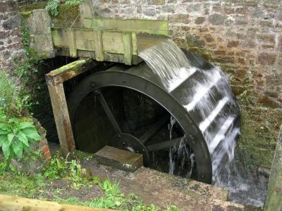 Overshot waterwheel at Bridge Mill, Bridgerule, Devon illustrating well Antipater's poetic description of water nymphs leaping on top of the wheel (SWAT-009)