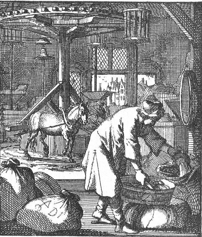 Dutch woodcut of a 17th century horse mill (From 100 Verbeeldingen van Ambachten, J & C Luiken, Amsterdam, 1698, MWAT-042)