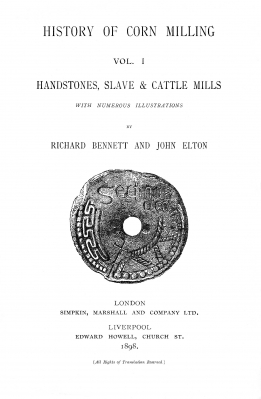 The title page from the first volume of Bennett and Elton's 'History of Corn Milling'.  The highly decorated quernstone is from Clonmacnoise, Ireland and dates to the early medieval period (Bennett and Elton, 1898)