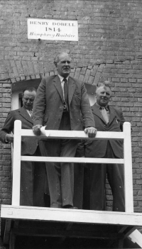 Rex giving the opening address at the celebration arranged to accompany the raising of the sweeps, Union Mill, Cranbrook, Kent, 23 July 1960