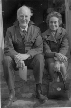 Rex Wailes and his wife Enid at Tower Mill, Over, Cambridgeshire, 30 March 1974. Photograph by Stephen Buckland