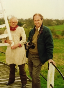 Frank in his miller's smock during filming for TV at Shipley windmill in 1994 (photo by Peter Hill)