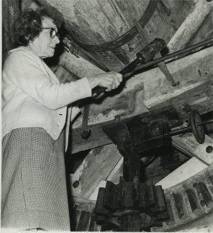 Dorcas Thomas at Outwood Post Mill, Surrey 1964