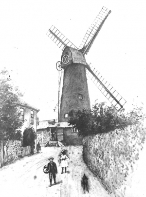 Painting by an unidentified artist showing Ashby's Mill shortly after it ceased work by wind power