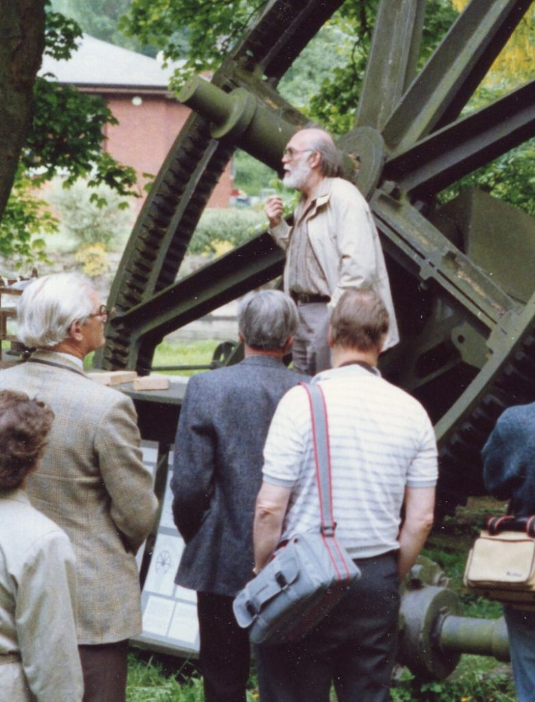Alan in May 1988 explaining to a group from the SPAB Mills Section the need to rebuild the Godalming water turbine